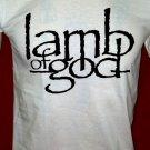 !! FREE SHIPPING!! Lamb of God American heavy metal band handmade white t shirt size L