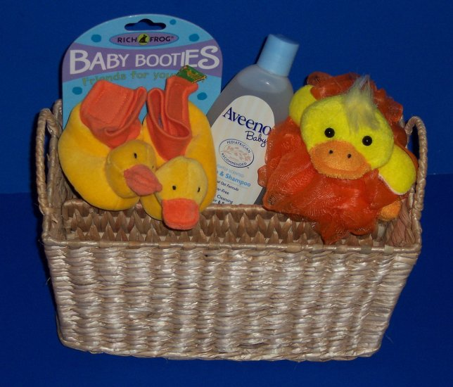 Bathtime for Baby Gift Basket with Booties and One-Piece