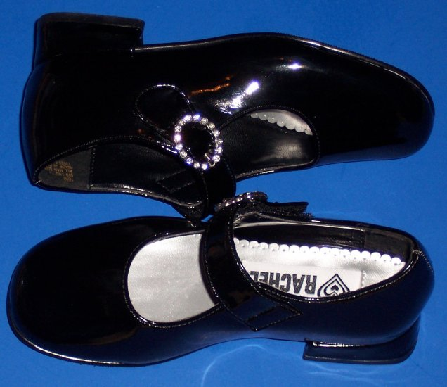 "Rachel ""Kyla"" Black Dress Shoes with Rhinestone Buckle Girls Size 10 Preschool Age"