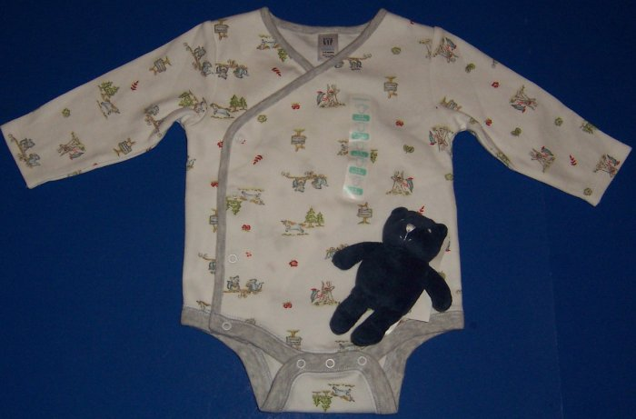 Baby Gap Long-Sleeved Onesie 3 to 6 Months with Blue Bear Toy