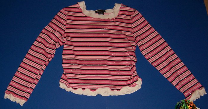 Great Escape Pink and Silver Striped Long-Sleeved Top Girls M 10 12