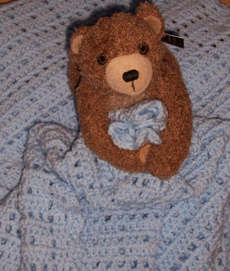 Sweet Dreams for Baby Hand-Crocheted Blanket with Teddy Bear