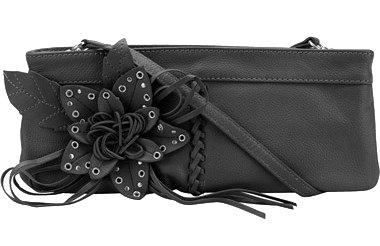 Wilsons Leather Blossom Fan Clutch/Purse, Black