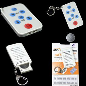 Mini Universal TV Remote Control Keychain, white *NEW*