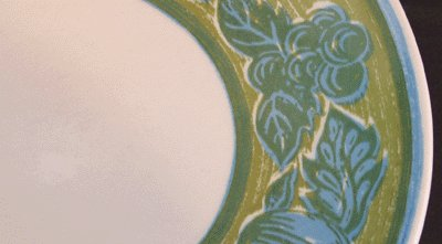 ROYAL CHINA Blue fruits on Green DINNER PLATE