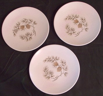 Vintage MELMAC Dishes PINE CONE 3x Bread Plate
