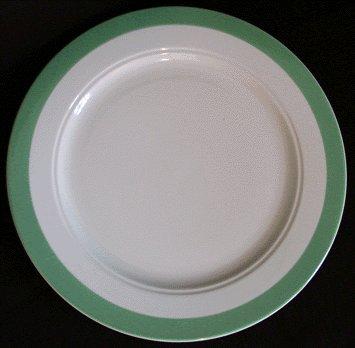 HOMER LAUGHLIN Restaurant Ware GREEN BAND Rimmed Dinner Plate