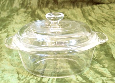 Vintage FIRE KING 1pt Clear Glass LIDDED CASSEROLE