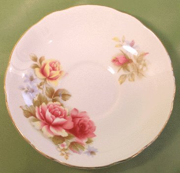 Regency Bone China Saucer PINK AND YELLOW ROSE FLORAL England ENGLISH