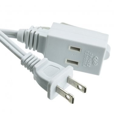 6ft 3 Outlet Power Extension Cord, UL/CSA White 16/2 10W1-39106