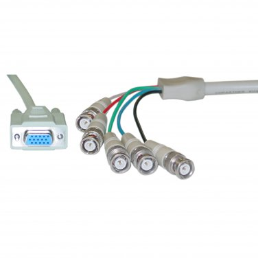 1ft SVGA (HD15 Female) to BNC (5 Male) Monitor Breakout Cable, Double Shielded 10H1-17301