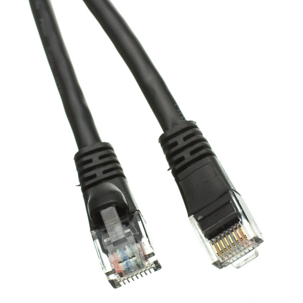 200ft Cat5e Black Ethernet Patch Cable, Snagless/Molded Boot 10X6-022200