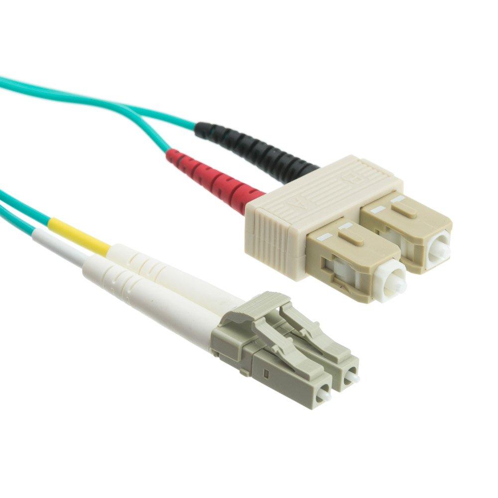 29.5ft 10 Gigabit Aqua Fiber Optic Cable, LC / SC, Multimode, Duplex, 50/125, 9 meter LCSC-31009