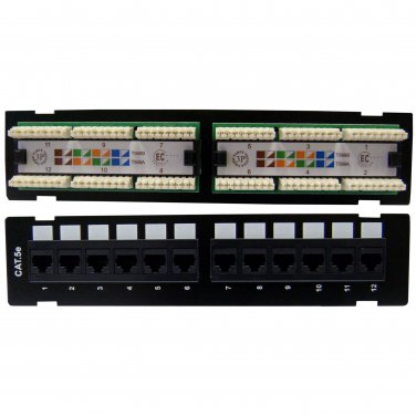 Wall Mount 12 Port Cat5e Patch Panel, 110 Type, 568A & 568B Compatible, 10 inch