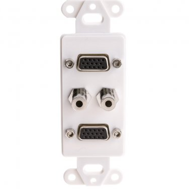 Decora Wall Plate Insert, White, Dual VGA Couplers and Dual 3.5mm Stereo Couplers, HD15 Female and 3