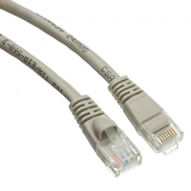 Cat6 Gray Ethernet Patch Cable, Snagless/Molded Boot, 6 inch