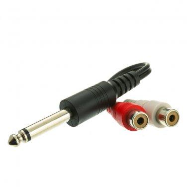 1/4 inch Mono Phono to Dual RCA Adapter, 1/4 Mono Male to Dual RCA Female, 6 inch 30S1-16260