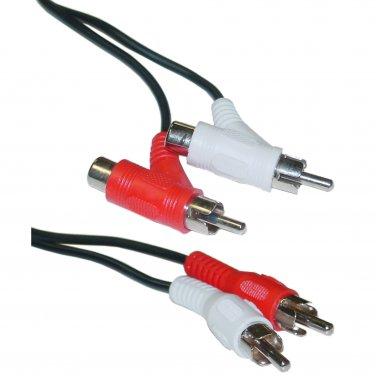 6ft RCA Audio Piggyback Cable, 2 RCA Male to 2 RCA Male + RCA Female Piggyback 10R1-02506