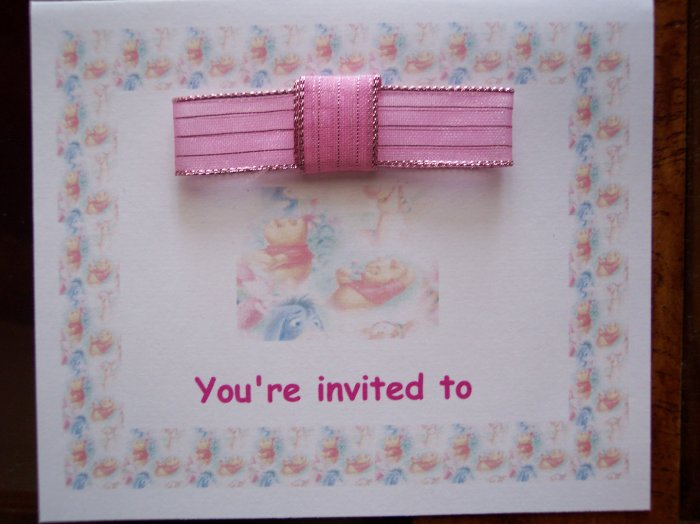 Pooh Border Baby Shower Invitation