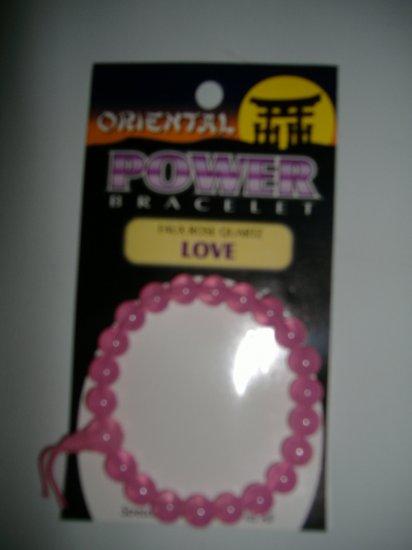 New Oriental Glass Power Bracelet ''Faux Rose Quartz Love''