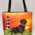 Chocolate Lab Lighthouse Bucket Handbag