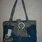 Fashion Denim Handbag w / Striped Tie Belt