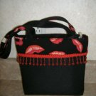 Sexy Black Handbag w / Red Lips & Beads