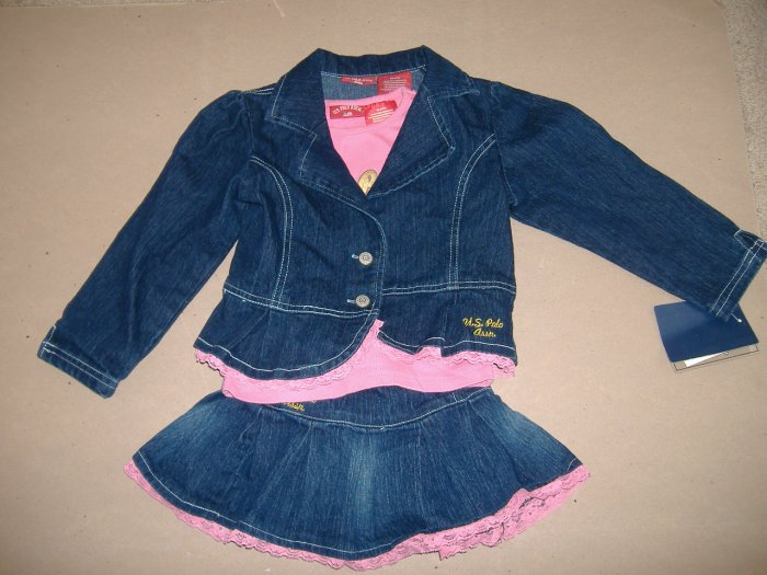 U.S. Polo Assn.Toddler Girl Three Peice Outfit - Size 4T