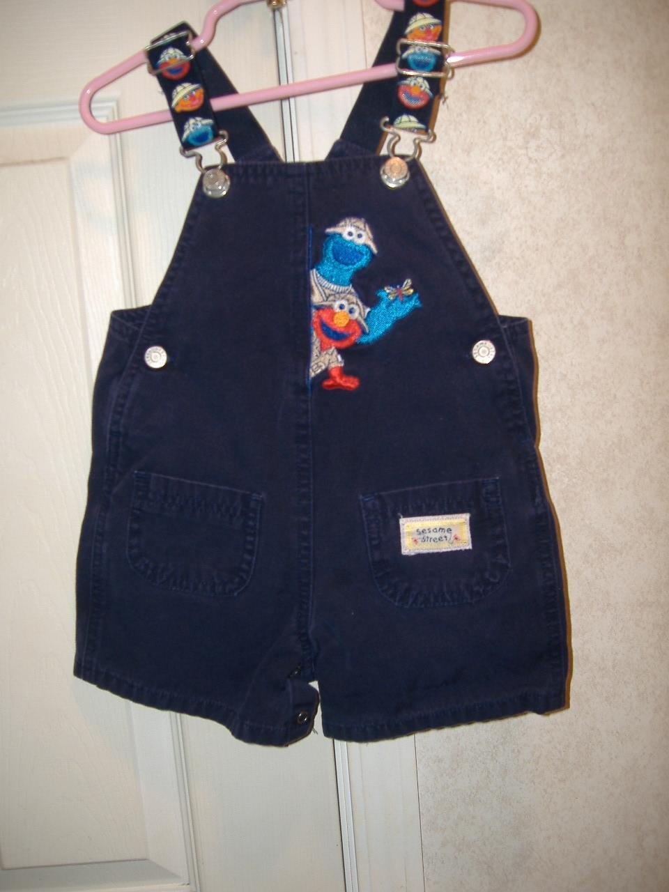 Sasame Street Toddler Overalls Shorts Size 18 Months