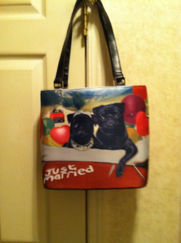 Just Married Rhinestone Bucket Handbag