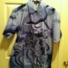 Men's Woven Asian Dragon Button Up Shirt - Size Large
