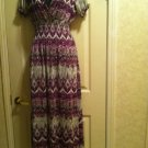 Women's Printed V-Neck Maxi Dress   Size L