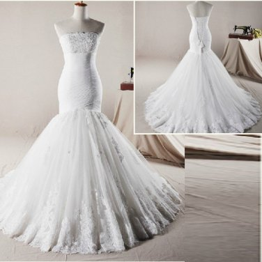 Strapless Wedding Dress Mermaid Beads French Lace Bridal Wedding Gown H131102
