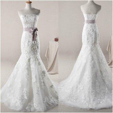 Strapless Wedding Dress Mermaid Trumpet Lace Appliques Purple Sash Bridal Wedding Gown H131103