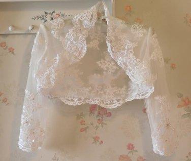 Bridal Vest 3/4 Sleeve Length Alencon Lace Beading Tulle white ivory Wedding Bolero Jacket RJ1