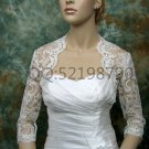Bridal Vest 3/4 Sleeve Length Alencon Lace Beading white ivory Wedding Bolero Jacket RJ21