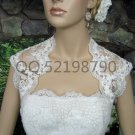 Bridal Vest Short Sleeve Length Alencon Lace white ivory Wedding Bolero Jacket RJ18