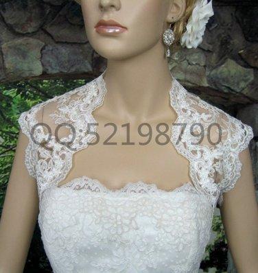 Bridal Vest Short Sleeve Length Alencon Lace white ivory Wedding Bolero Jacket RJ18