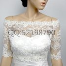 Bridal Vest 3/4 Sleeve Alencon Lace white ivory Off Shoulder Wedding Bolero Jacket RJ17
