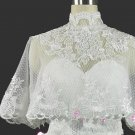 Bridal Vest Long Shawl High Neck white ivory Gird Mesh Beads Wedding Shawl RJ7