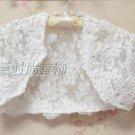 Bridal Vest Short Sleeves Dots Lace white ivory Beads Handmade Stock Wedding Bolero Jacket RJ1