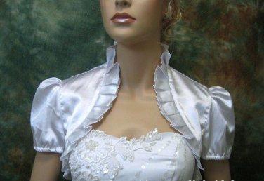 Bridal Vest Short Sleeves white ivory Satin Handmade Stock Wedding Bolero Jacket RJ33