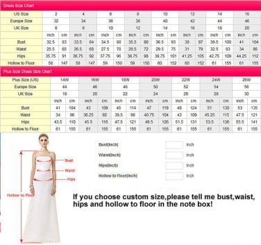 5 Stars Store Wedding Dress Evening Dress Formal Gown Standard Size Chart
