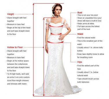 5 Stars Store Wedding Dress Evening Dress Formal Gown Measure Guide Chart