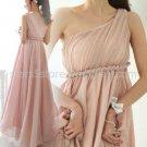 Stock Multi Colors Long Bridesmaid Dress A-line One Shoulder Chiffon Evening Party Dress MB07