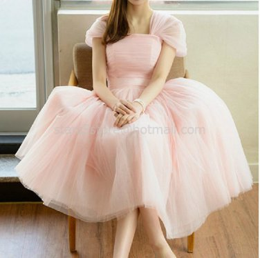 Stock Cap Sleeves Short Bridesmaid Dress A-line Pink Black Tulle Wedding Evening Party Dress MB09