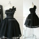 Stock One Shoulder Short Bridesmaid Dress A-line Black Tulle Wedding Evening Party Dress MB10