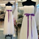 Stock Ivory Purple SASH Long Bridesmaid Dress A-line Chiffon Wedding Evening Party Dress MB13