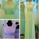 Stock Multi Colors Long Bridesmaid Dress A-line Chiffon Wedding Evening Party Dress MB12