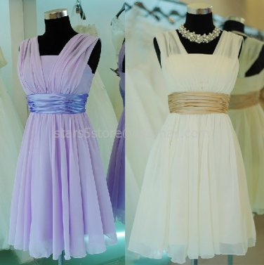 Ivory Pink Purple Short Bridesmaid Dress A-line Chiffon Evening Party Dress MB14